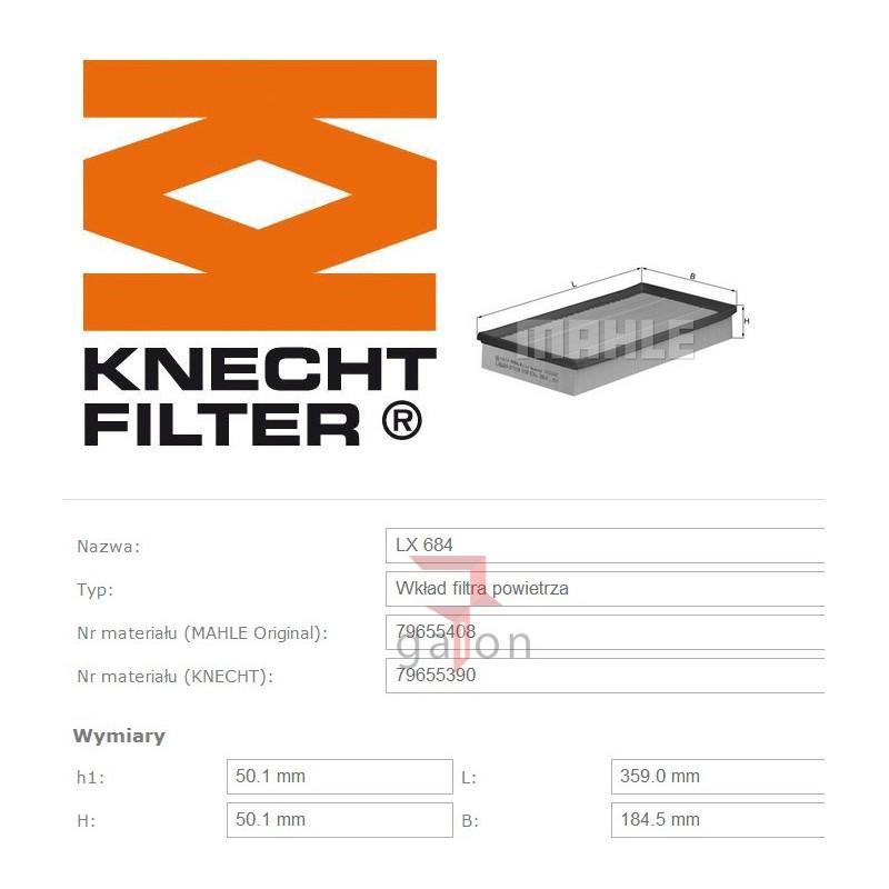 KNECHT FILTR POWIETRZA LX 684