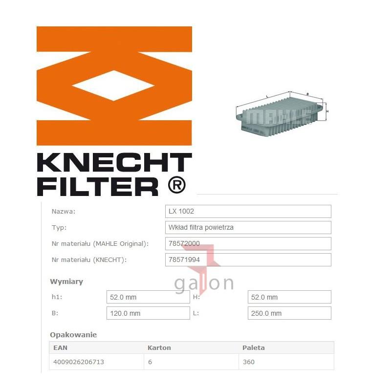 KNECHT FILTR POWIETRZA LX 1002