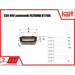 HART FILTR KABINOWY 338 499 K1118A węglowy